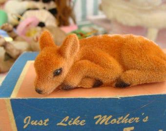 ONSALE Vintage Christmas Adorable Flocked Baby Doe Deer with Life Like Eyes