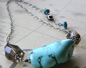 Summer Sale 20% Off Turquoise and Smokey Quartz Nugget Necklace, Boho Necklace, Rustic Aqua Necklace