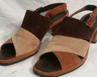 Vintage slingback sandals,  brown suede, size 7 ladies
