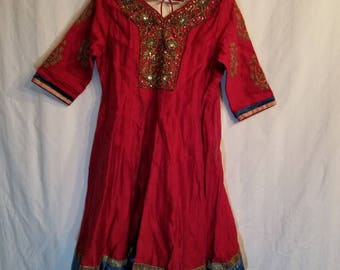Child's vintage Indian dress, sari, burgundy silk, embroidered, 28