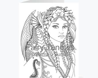Printable Fairy Tangles Greeting Cards to Color Norma Burnell 5x7 inch Fairy Dragon Cards for Coloring Fairy & Dragon Adult Coloring