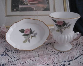 """WEDGWOOD - 1 Oval Trinket/pin Dish and a Grecian Urn Vase - """"Hathaway Rose"""""""