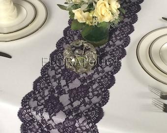 """Very Dark Plum Purple Lace Table Runner Wedding Table Runner 9.25"""" wide LPLU14"""