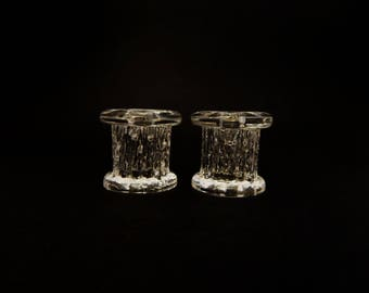 Kosta Boda Rurik Candlesticks Vintage Crystal Glass Candle Holders Ann Warff Sweden