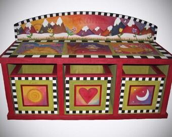 STORAGE BENCH, Custom storage bench, window bench, Personalized bench, bench with storage, wood burned bench, storage bench seat