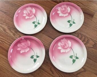 4 Vintage 1950's Mid Century Syracuse China Pink Airbrush Rose Restaurant Ware Diner Dinner Plates