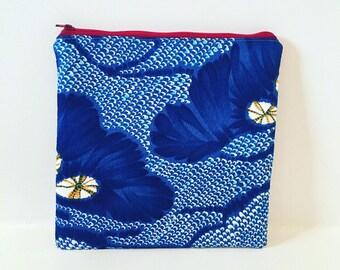 Zipper Pouch/ Vintage Polynesian Textiles/ Makeup Bag/ Barkcloth