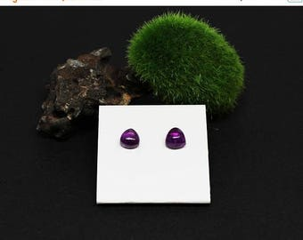 Christmas In July Sale - Amethyst Gemstone . 7mm Domed Triangles . Sterling Silver Posts Studs Earrings . Deep Purple . E16014