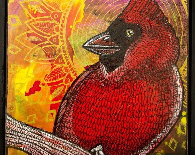 Original Red Cardinal Bird Miniature Painting by Lynnette Shelley