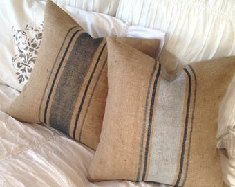 French Grainsack Burlap Pillow Set of Two  in Shades of Blue and Silver   Farmhouse/Coastal/Beach/Lakehouse/Cottage Chic