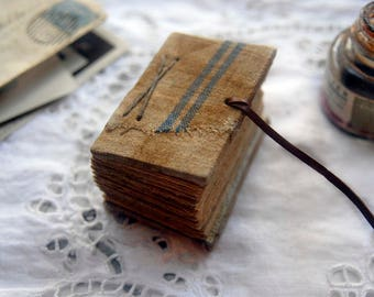 Tiny Stories - Miniature Antique Linen Book, Tea Stained Pages - OOAK