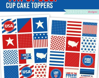 4th of July Cupcake Toppers Printable, 4th of July Cupcake Decorations, Red White and Blue, Patriotic Printable, USA, INSTANT DOWNLOAD