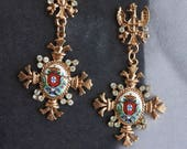 Earrings Portugal Royal Seal or Brasao BAROQUE - Luso Portuguese Heritage -  Gift Box Included - Ships from USA