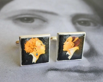 Silver Cuff Links 925  THE KISS by Ramos Pinto Art Deco Art Nouveau Port Wine - Gift Box Included