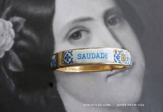 SAUDADE Portugal Blue Antique Azulejo Tile Replica Bangle Bracelet - Individually Placed Tiles PRE ORDER