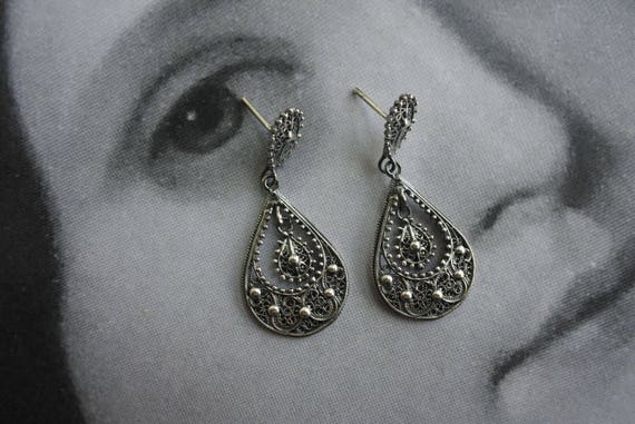 Earrings Filigree Silver Portugal  24k Gold Bath MADE in PORTUGAL - Brincos - Gift Box Included Ships from USA