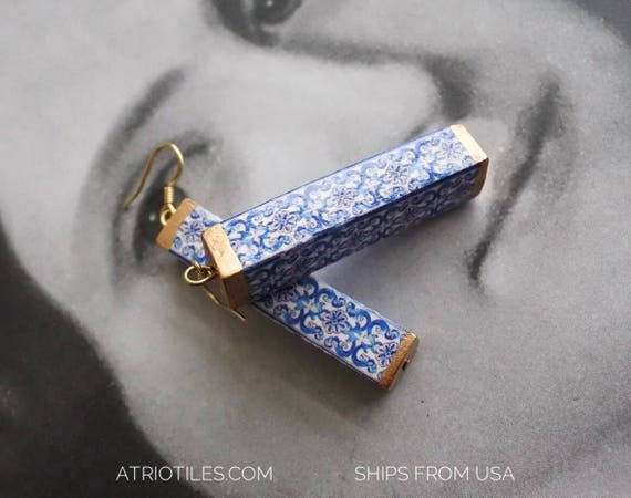 Earrings Portugal Tile Azulejo Blue Pillar AvEIRO Santa Joana Convent 1458 - Gift box included Column - Surgical Steel Ear wires.