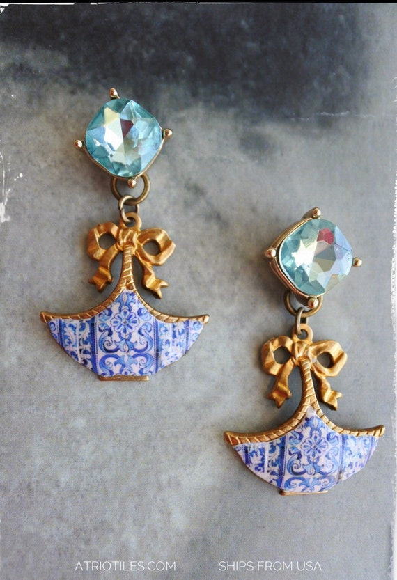 Earrings Portugal Tile Azulejo Blue  AvEIRO Santa Joana Convent 1458 - Gift box included Cubic Zirconia Studs Posts Romantic Bows