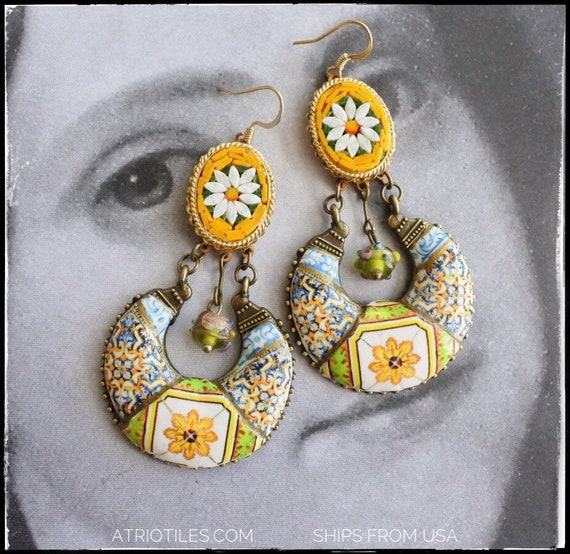 Earrings Chandelier Portugal Yellow Tile Azulejo Micro Mosaic Italian Italy Wedding Cake Beads 17th Century Evora - Ships from USA OOAK