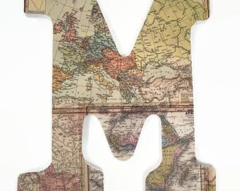 World Map Wood Letter - Travel Nursery - Gender Neutral - Wall Art - Maps Letters - Hanging Letter - Wooden Name Decor - Map Initial