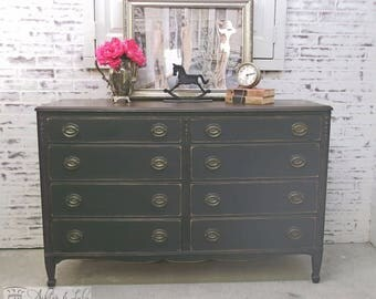 Double Dresser, Distressed Black Cottage Style -DR507- Shabby Vintage Farmhouse Chic, French Country