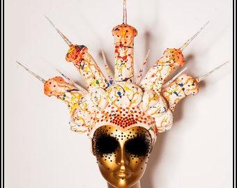 Rainbow Crown of Cocks Headdress ... Penis Headdress in White with Rainbow Splatters Gay Pride