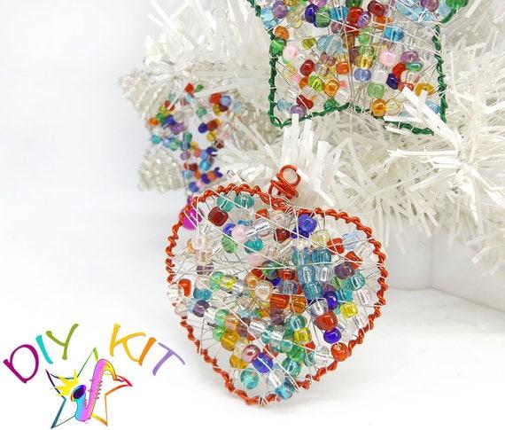 Christmas decoration, Diy heart ornament, Hanging Heart Ornament kit ...