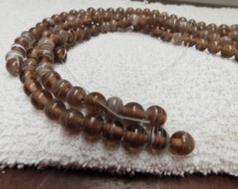CLEARANCE - 8mm Brown and White Glass Beads