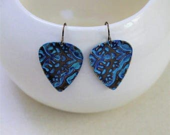 Guitar Pick Earrings, Guitar Pick Jewelry, Music Jewelry, Musician Gift, Patina Jewelry, Vintaj Jewelry, Blue Turquoise Jewelry, Brass