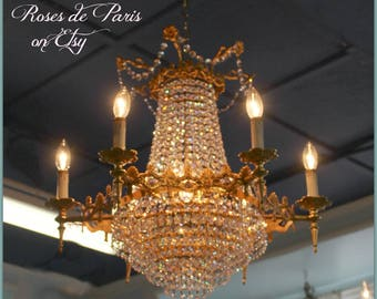 Incredible vintage empire chandelier  French chandelier   6 arms waterfall  wedding cake base  rosettes & amethyst accents