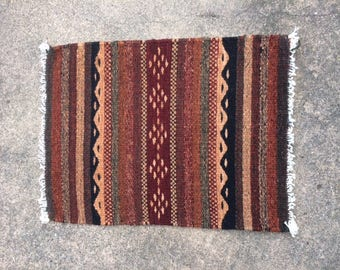 Native American Handwoven Small Rug in Earthtones