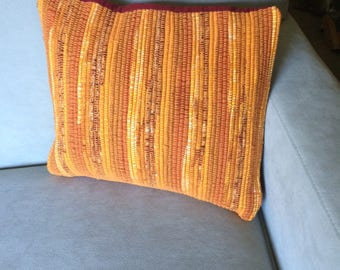 Handwoven Throw Pillow in Shades of Orange