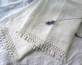 """Antique French Linen Towel/Table Runner Hand Woven in Ivory with Fringe Large Size 46"""" Long x 26.5"""" Wide"""