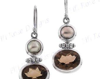 "13/16"" Freshwater Pearl Smokey Quartz 925 Sterling Silver Earrings"