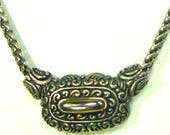 Medieval Style Silver Chain Necklace, Center Pendant Has Gold and Silver Ornate Metalwork