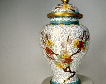 Chinese Cloisonne Ginger Jar, 1980s 2 Piece Perfect Small Completely Enameled Container, Beautiful Plum Blossoms w White Clouds Background