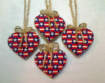 Miniature Americana Heart Ornaments   Party Favors   4th of July   Americana Decor   Tree Ornament   Patriotic Decor   Handmade  Set/4   #6