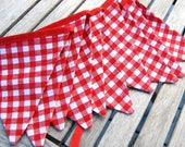 Red & White Gingham in MINI Size - BBQ Birthday Bunting Banner, Farm or Barnyard Party Fabric Flags, Picnic Garland Decoration - SALE
