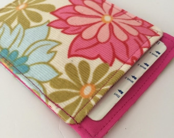 Birth Control Pill Sleeve, Pinwale Cord Floral Pill Case, Designer Fabric, Pill Sleeve, Cute and Discreet for your Bag