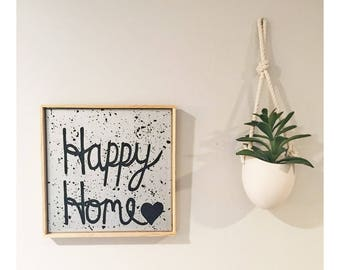 Happy Home - Hand painted Canvas - bedroom painting decor home house dwell wall hanging decoration black white paint art work