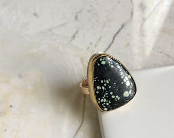 New lander Turquoise Ring. sz 6. One of a Kind. Statement Ring. Black Turquoise. Gold Filled Band. Gold and Stone Ring. Boho Styke. Modern.