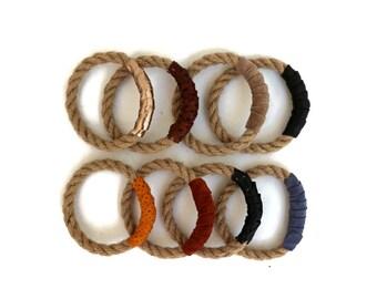 Rope Bangle and Leather Bracelets in Neutral Colors Set of 2. Boho Bangle Bracelet Set. Boho Chic Stackable Bracelets. Unique Gift for Her