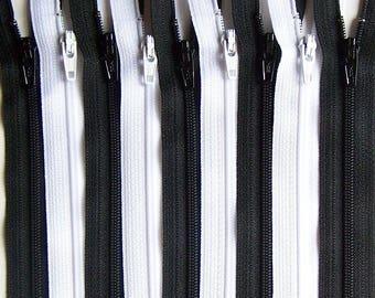 SALE Wholesale YKK Zipper 12 Inch Black and White Bundle (50) Pieces- Bulk Zippers