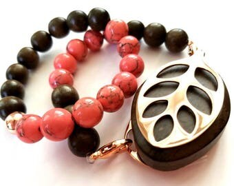 Bella Beat Leaf bracelet coral magnesite and dark brown wood with rose gold finishing
