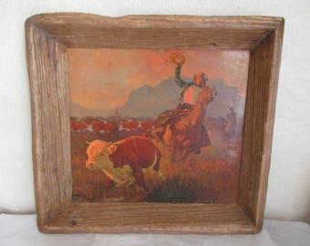 Vintage Cowboy Western Calf Roping Print in an Old Primitive Rustic Weathered Wood Frame