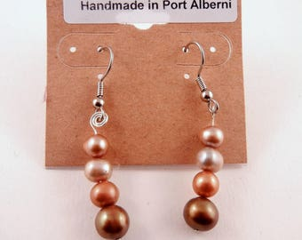 Gem stone  earrings fresh water pearls dyed