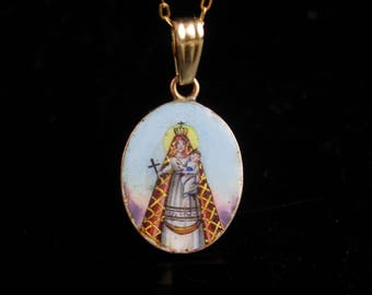 Antique Icon necklace / 14kt gold Infant of prague  / Hungarian Enamel / vintage Portrait  / religious necklace