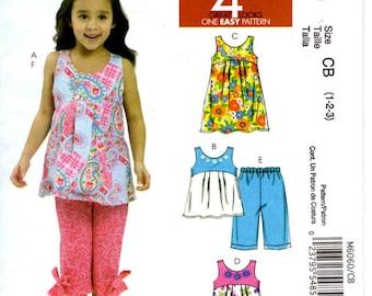 Sewing Pattern - McCalls 6060 - Girls Dress Tops Capri Pants  - Sizes 1 to 3