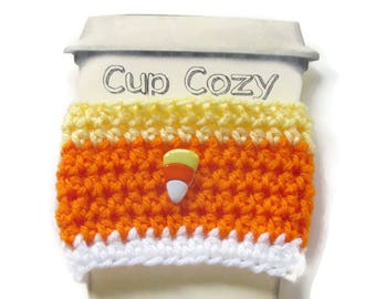 Crocheted Candy Corn Coffee Cup Cozy - Crocheted Halloween Cup Sleeve - Crocheted Cup Warmer With Candy Corn Button