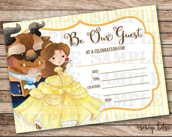 Beauty and the Beast Invitation, Be Our Guest Invitation, Belle Party Invitation, Printable Beauty & Beast Invite, Instant Download